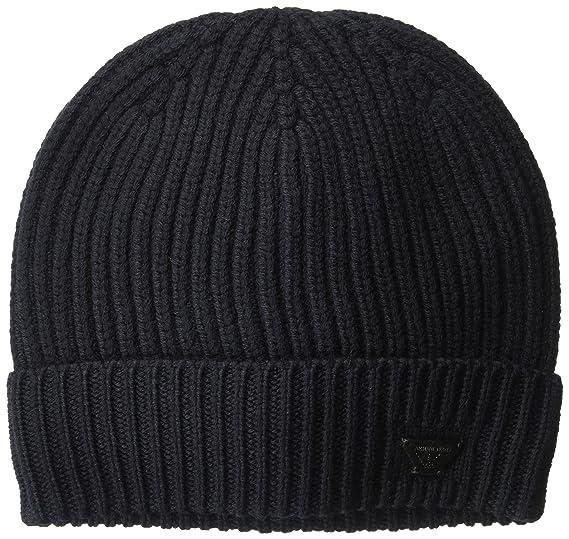 568fc1e52fa55e Armani Exchange Men's Cashfeel Pure Merino Wool Knit Beanie, Blue/Blue, ONE  Size