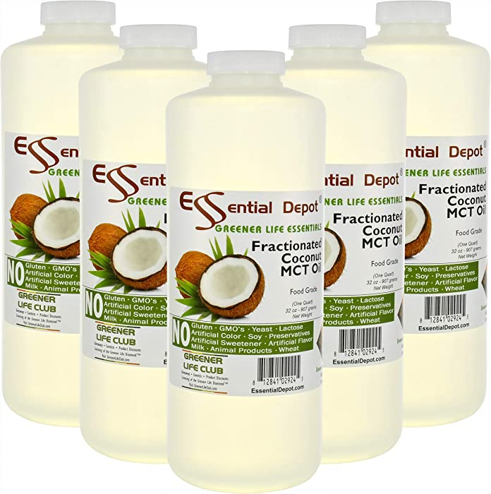 Coconut Oil - Fractionated - MCT Oil - 5 Quarts - 32 oz per quart container - Food Grade - safety sealed HDPE container with resealable cap