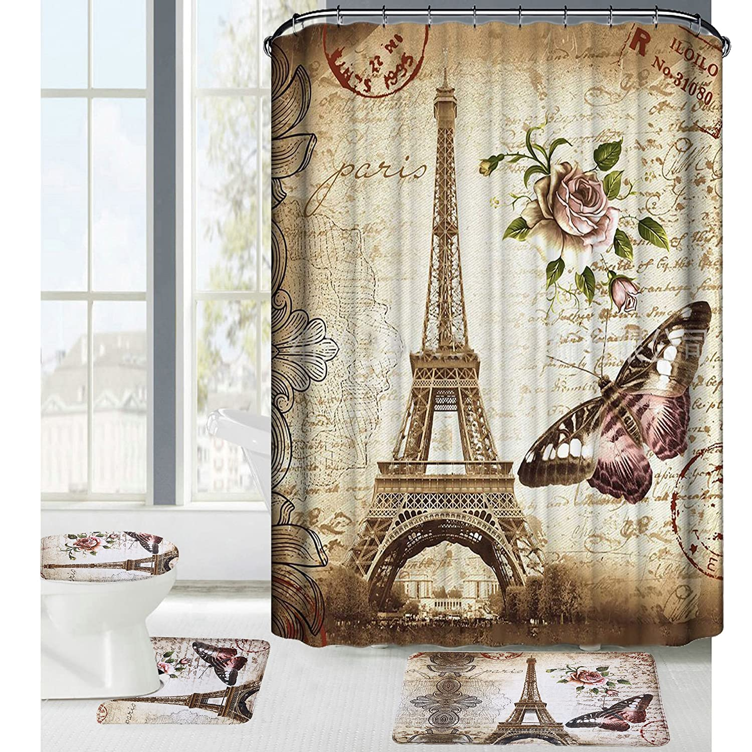 Deco Salle De Bain Fille ~ Amazon Com Amagical 16 Piece Paris Eiffel Tower Pattern Shower