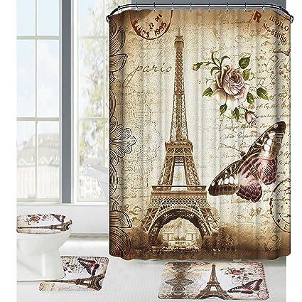 Amagical 16 Piece Paris Eiffel Tower Pattern Shower Curtain Set Bath Mat Contour Toilet