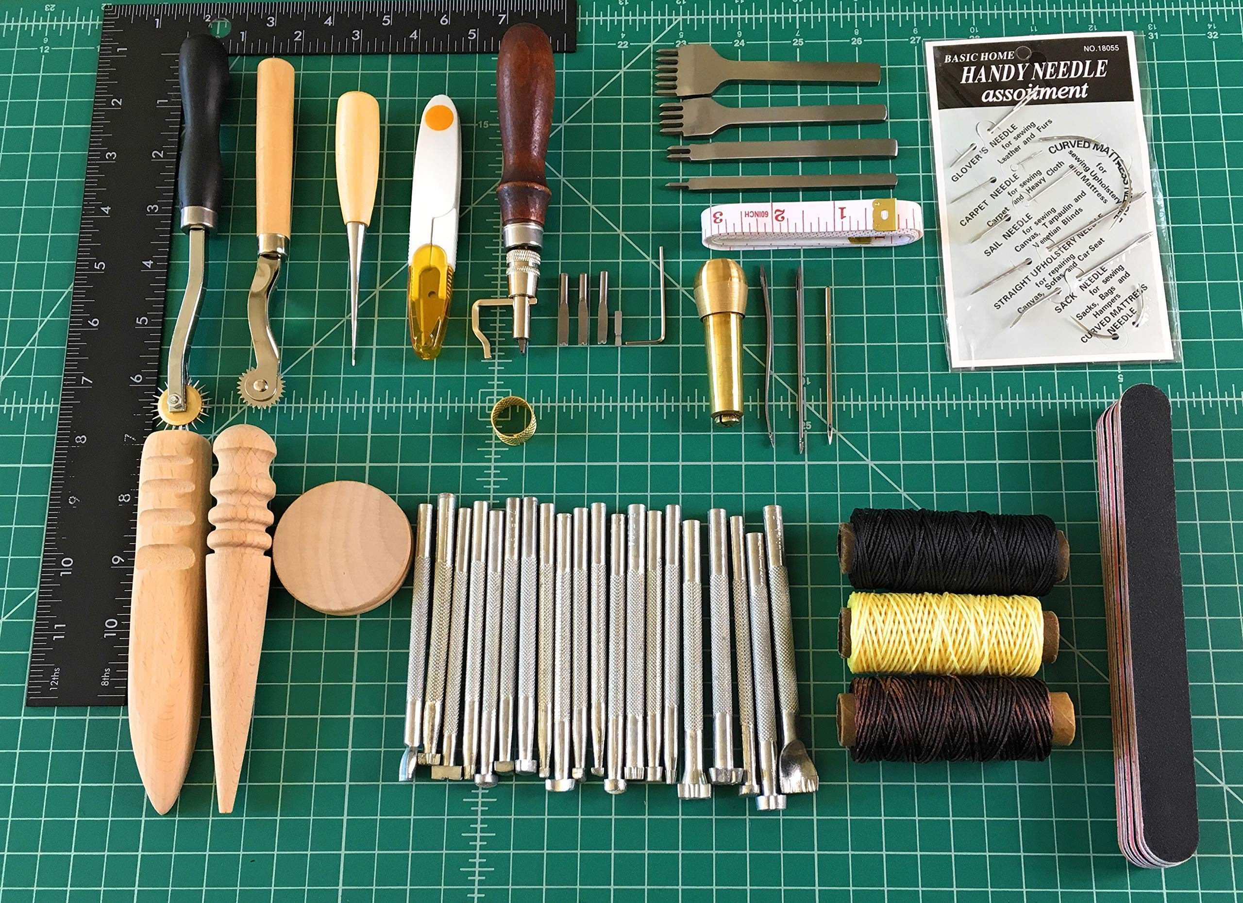Kendray Leather Craft DIY Hand Tools Kit 59 Pieces Stamping Set Saddle Making with Groover Awl Pressure Cloth Tooth Tool Waxed Thread Needles Prong Punch Scissors Wood Burnisher by Kendray (Image #2)