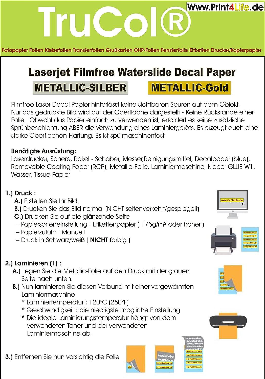 10 fogli di decalcomania per scivoli d'acqua carta transfer A4 trasparente per fotocopiatrice laser (solo la stampa viene trasferita - senza foglio) per materiali porosi (legno, muratura, mattoni, mattoni, cuoio, plastica ....) AC-Concept