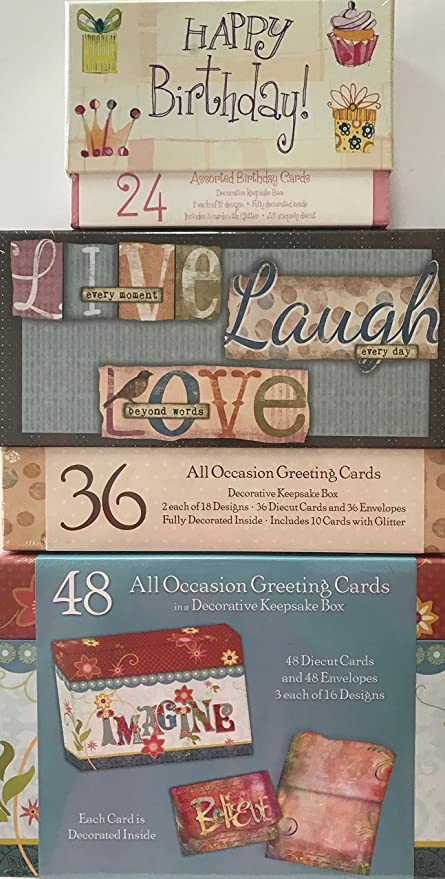 Assorted All Occasion Cards 3 Decorative Keepsake Boxed Set Bundle Thinking Of You Blank