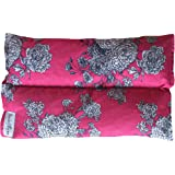 Ultra Premium All Natural Microwavable Aromatherapy Heating Pads - Certified Organic Herbs, Organic Flaxseed & Cherry Pit Filler- Medium- (Pink/Blue Floral)
