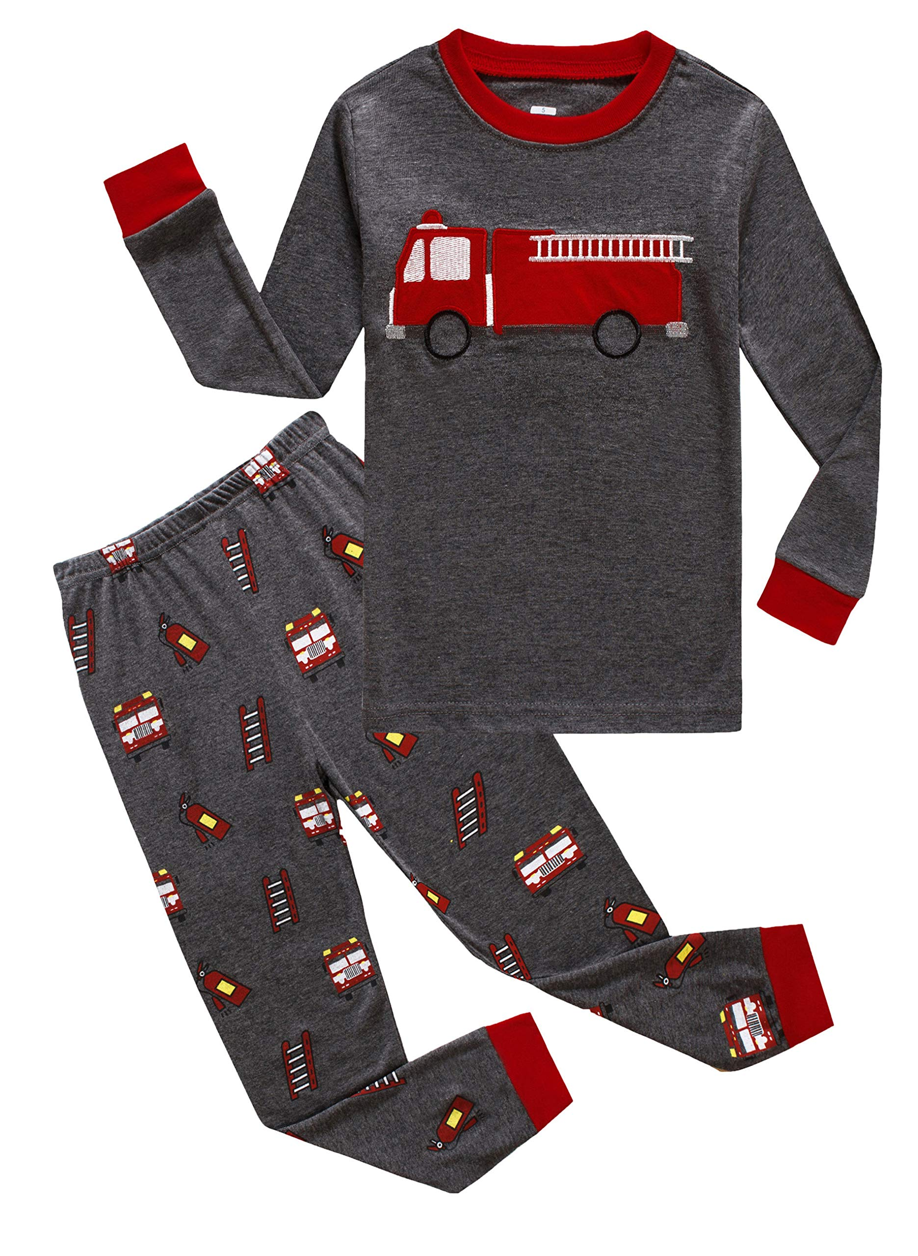 Family Feeling Fire Truck Big Boys Long Sleeve Pajamas Sets 100% Cotton Pyjamas Kids Pjs Size 10 Grey
