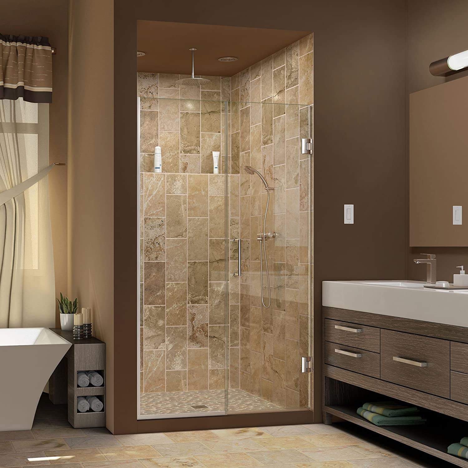 DreamLine Unidoor Plus 57 1/2-58 in. Width, Frameless Hinged Shower ...