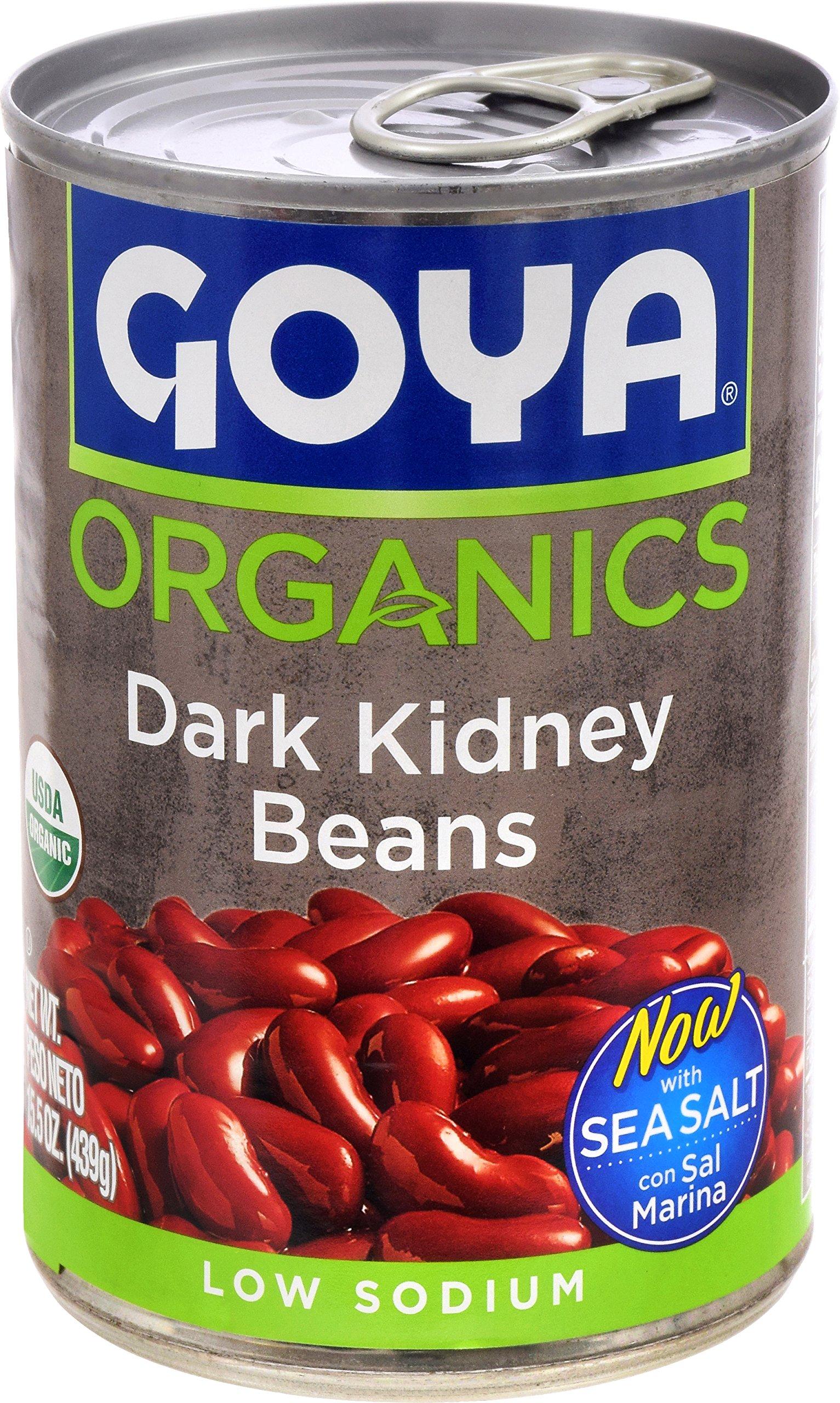 Goya Foods Organic Beans, Dark Red Kidney, 15.5 Ounce (Pack of 24)