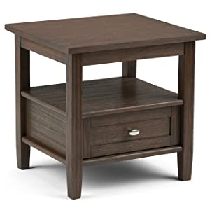 Simpli Home AXWSH002-FB Warm Shaker Solid Wood 20 inch wide Rustic End Side Table in Farmhouse Brown