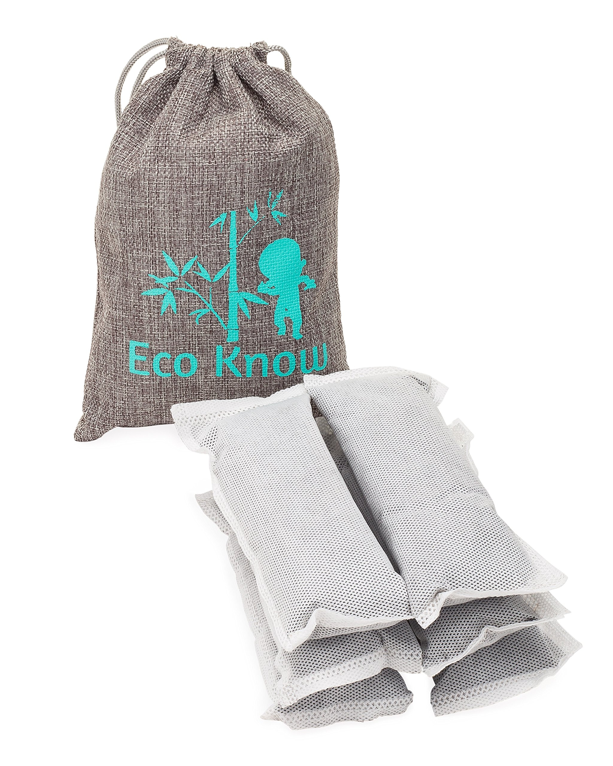 Set of 6 Large (50g) Natural Bamboo Charcoal Diaper Pail Household Home Deodorizers by Eco-Know