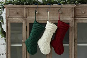 Vanteriam Large Christmas Stockings, 3 Pack 15'' Classic Solid Color Knit Knitted Christmas Stockings, Rustic Personalized Stockings for Xmas Decorations, Set of 3
