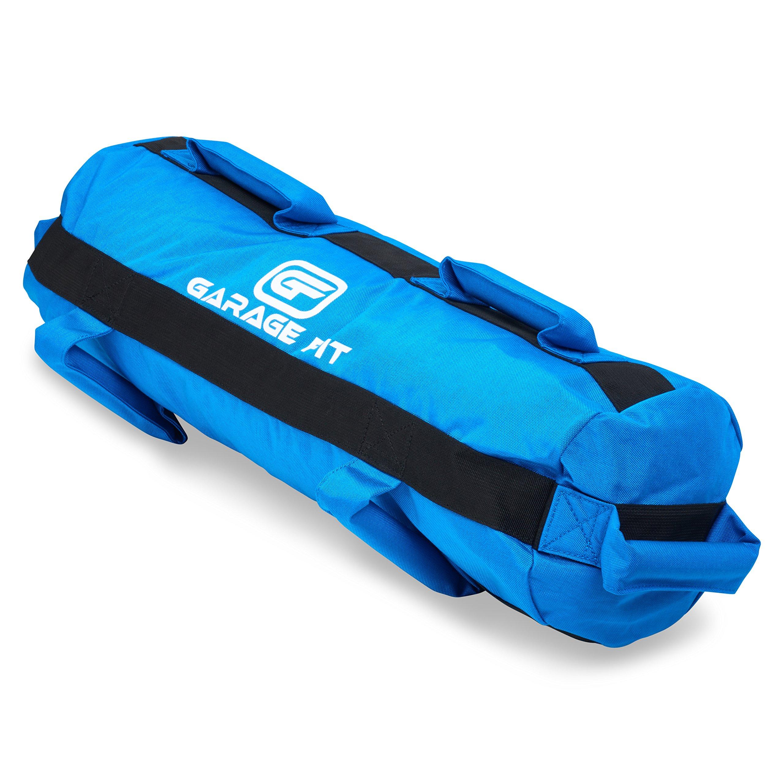 Garage Fit Heavy Duty Workout Sandbags for Fitness, Exercise Sandbags, Military Sandbags, Weighted Bags, Weighted Sandbag, Fitness Sandbags, Training Sandbags (Blue Rubber Core Handle, 80-120 lbs)