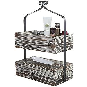 MyGift Rustic Torched Wood Shelf Rack, 2 Tier Counter-Top Organizer, Dark Brown