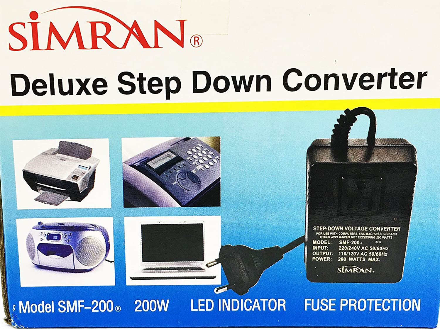 Simran SMF-200 Deluxe 200 Watts Step Down Voltage Converter for ...