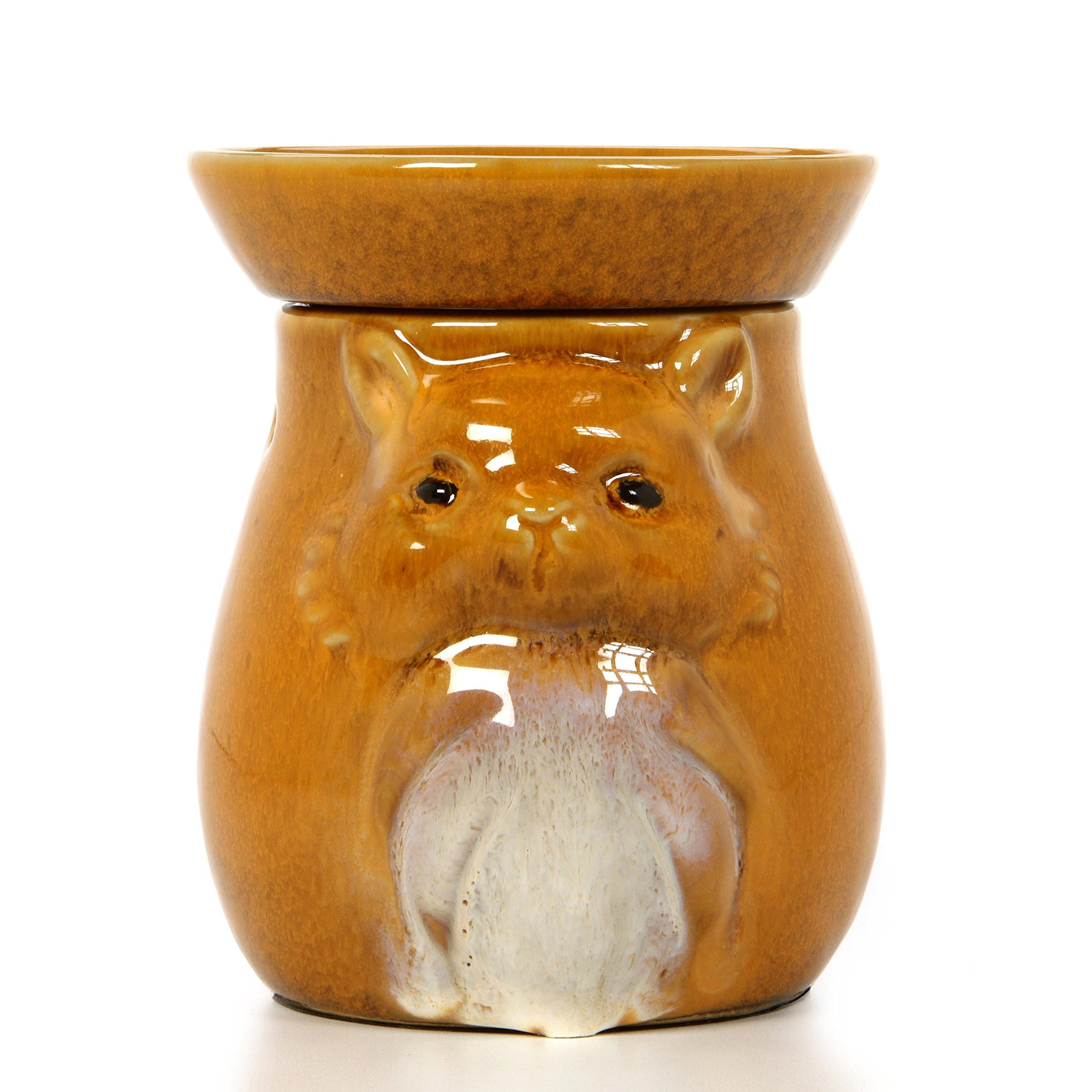 Hosley 5'' High Tan Woodland Animal Ceramic Electric Oil Warmer. Ideal Gift for Wedding, Spa and Aromatherapy. Use Brand Fragrance Oils, Essential Oils and Wax Melts/Cubes. P2