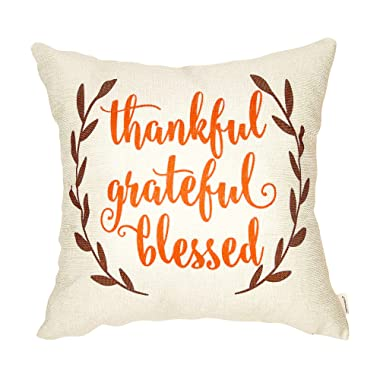 Fahrendom Rustic Fall Sign Thankful Grateful Blessed Laurel Wreath Thanksgiving Gift Autumn Seasonal Quote Cotton Linen Home Decorative Throw Pillow Case Cushion Cover with Words for Sofa Couch 18 x 1