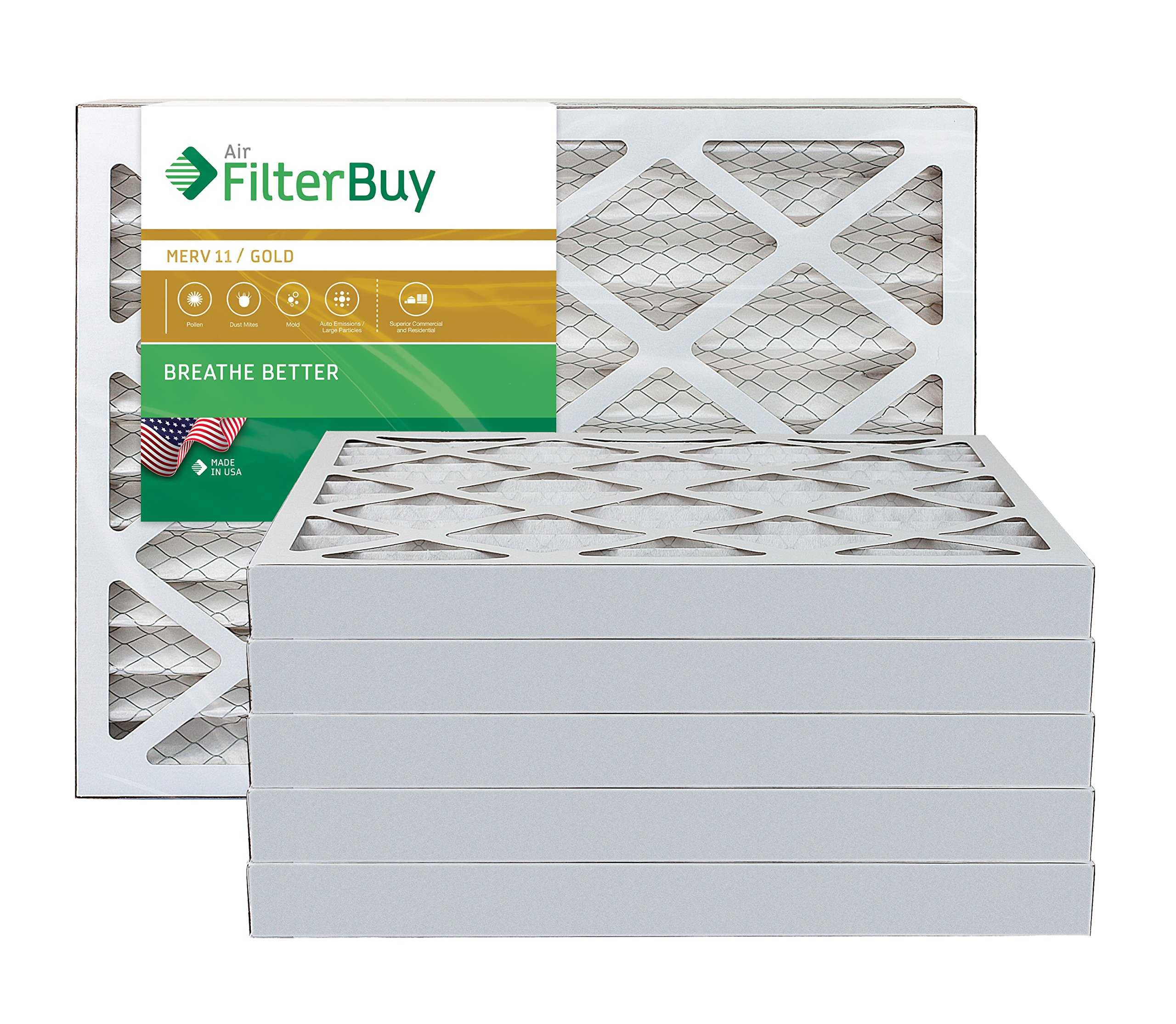AFB Gold MERV 11 28x30x2 Pleated AC Furnace Air Filter. Pack of 6 Filters. 100% produced in the USA.