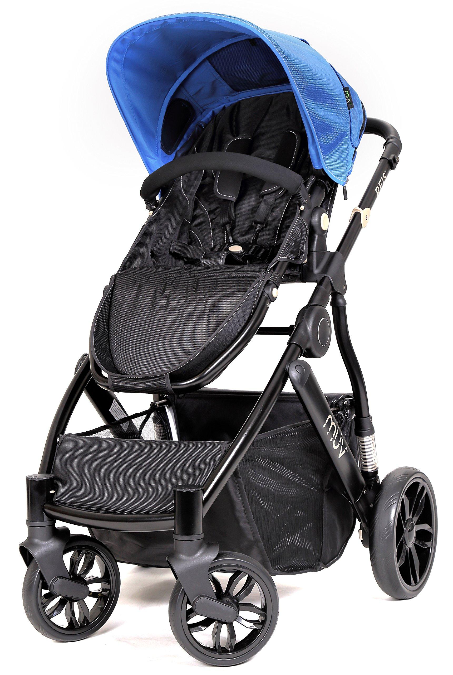 Muv Baby Trend Reis Stroller, Satin Black/Sky