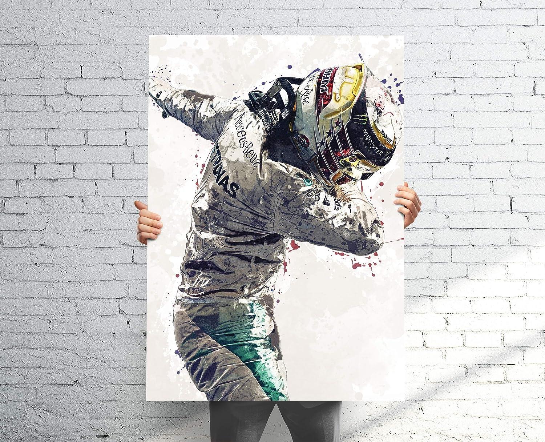 Amazon Com Topshelfprints Lewis Hamilton Mercedes Poster Canvas Print F1 Racing Artwork Kids Wall Decor Man Cave Sports Decor Clothing