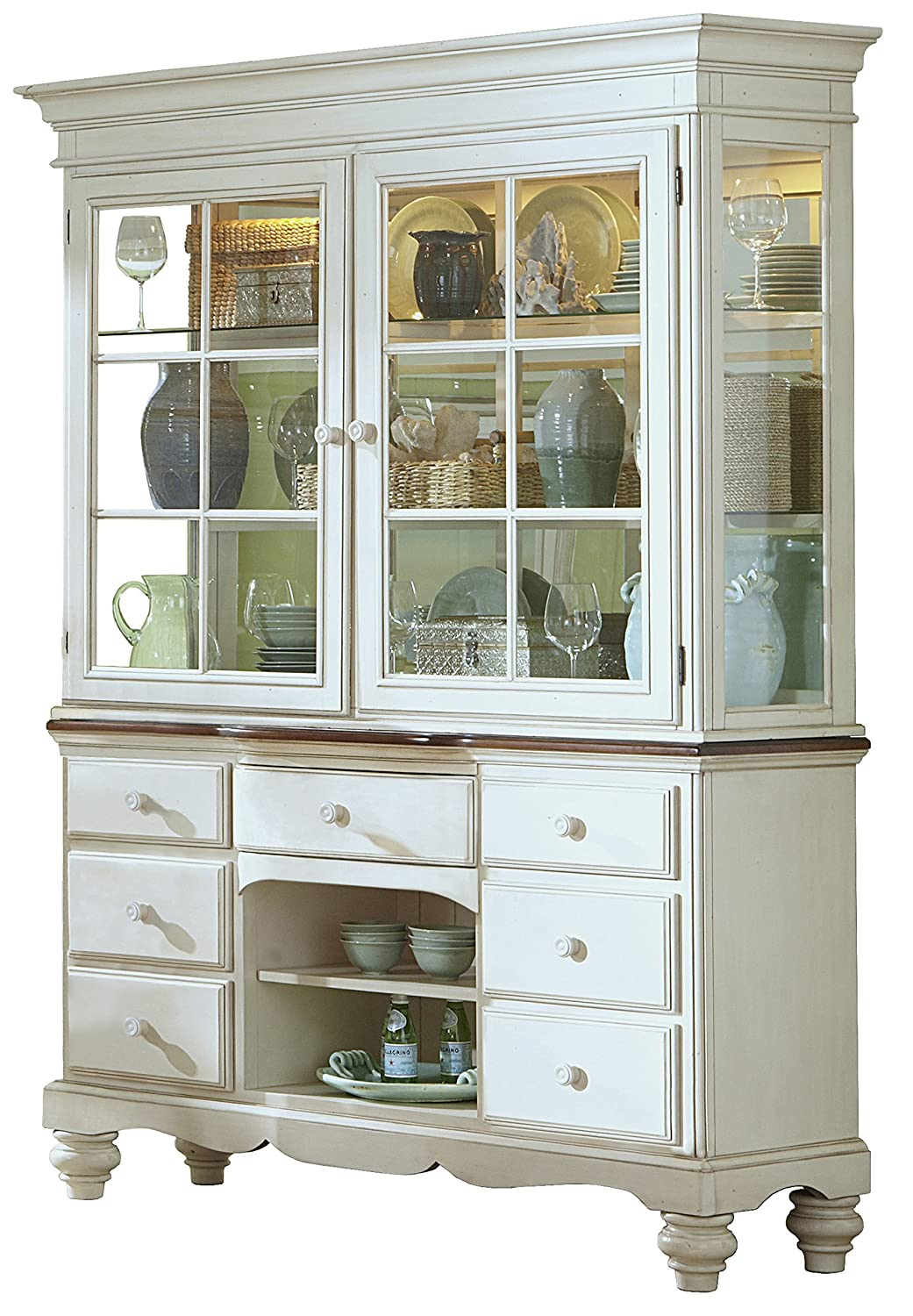 Amazon.com   Hillsdale Furniture Hillsdale 5265BH Pine Island Buffet And  Hutch With Dark Top, Old White   China Cabinets
