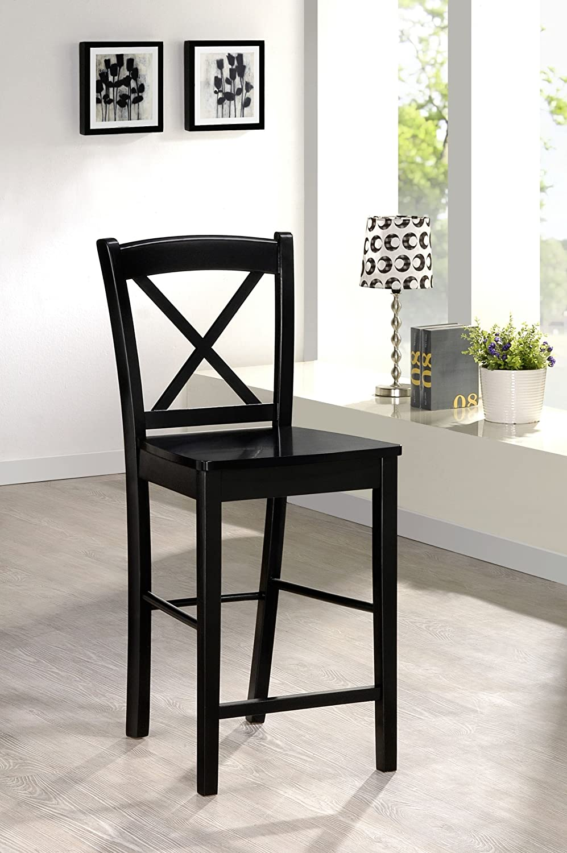 amazoncom linon home decor xback stool 24inch black kitchen u0026 dining