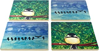 product image for Grumpy Chickadee and Birds-On-A-Wire Coasters - Original Paintings By Christi Sobel - Set of 4 Wooden Coasters