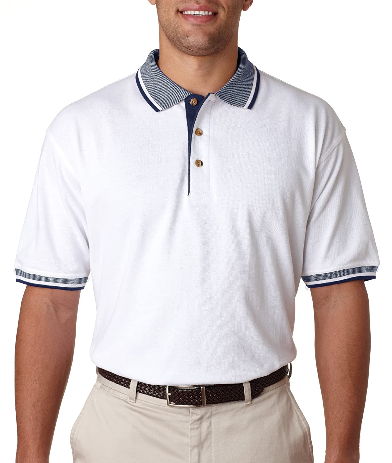 UltraClub Mens Classic Pique Polo with Contrasting Multi-Stripe Trim 8536