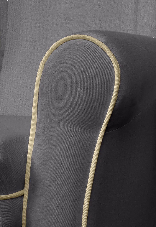 SERMAHOME- Sillón butaca Balancín orejero Modelo Deluxe Lactancia. Tapizado Marrón con Vivos Beige. Medidas: 102 x 75 x 74.
