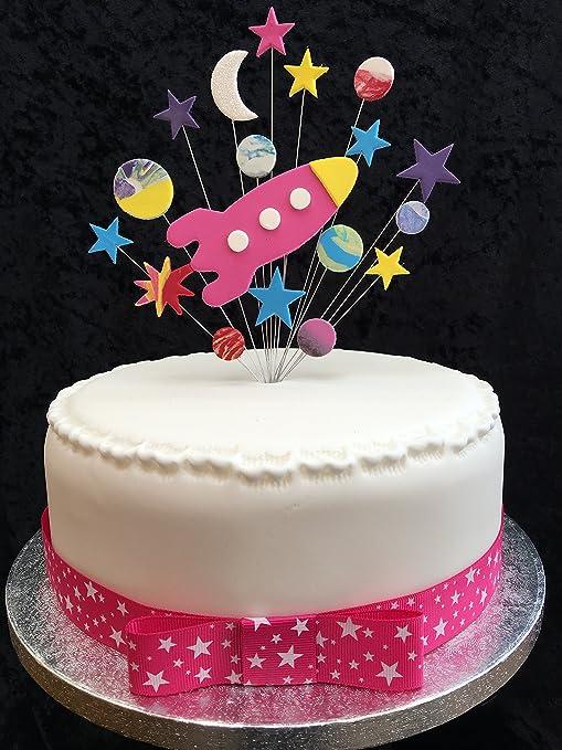 Karens Cake Toppers Rocket con Estrellas, Planetas y Luna ...