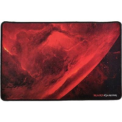 Mars Gaming MRMP0 - Alfombrilla gaming para PC (superficie de tela con suavidad y precisión extrema, base de caucho, bordes reforzados, 350x250x3mm), color negro y rojo