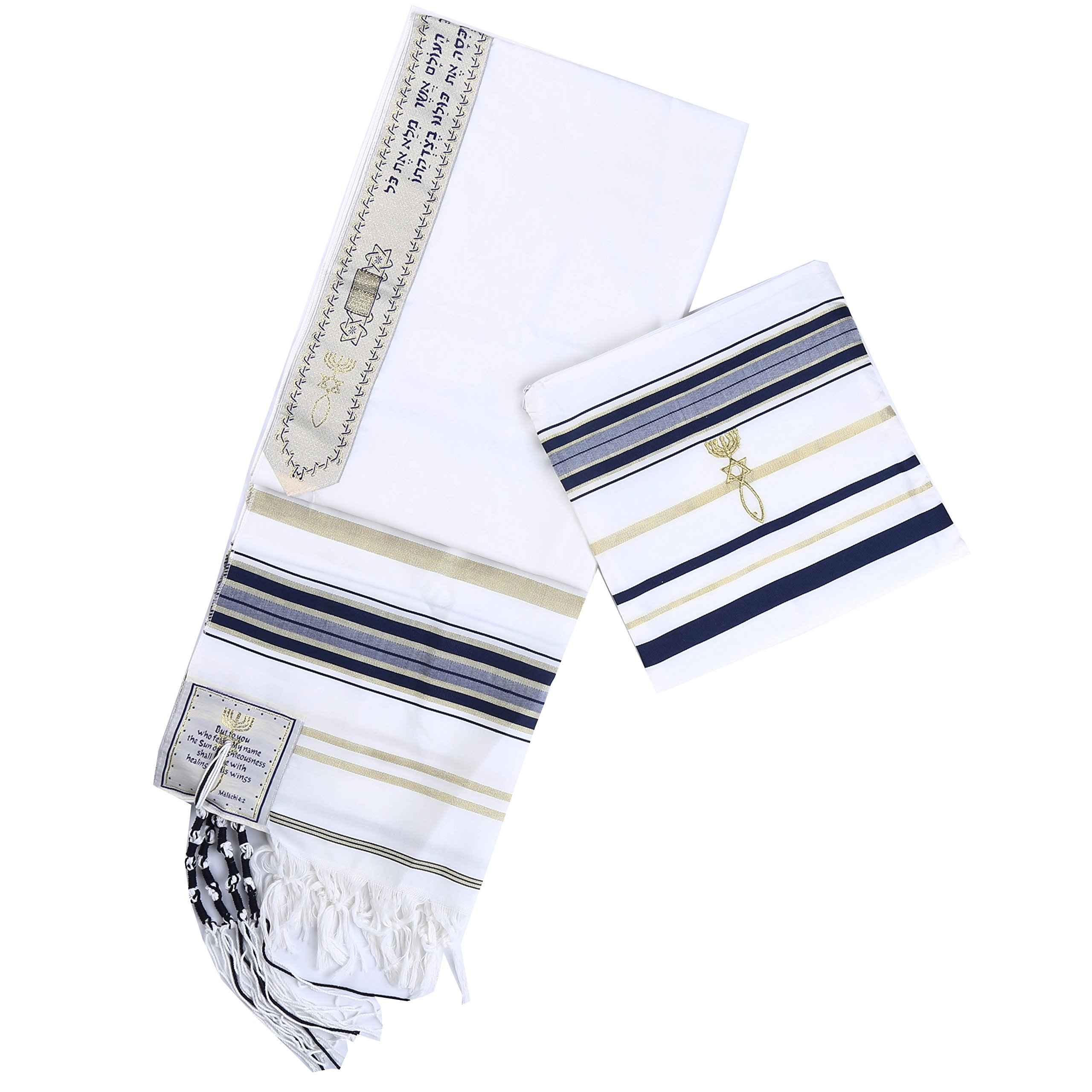 Star Gifts Navy blue Messianic Tallit Prayer Shawl 72'' X 22'' with Matching bag