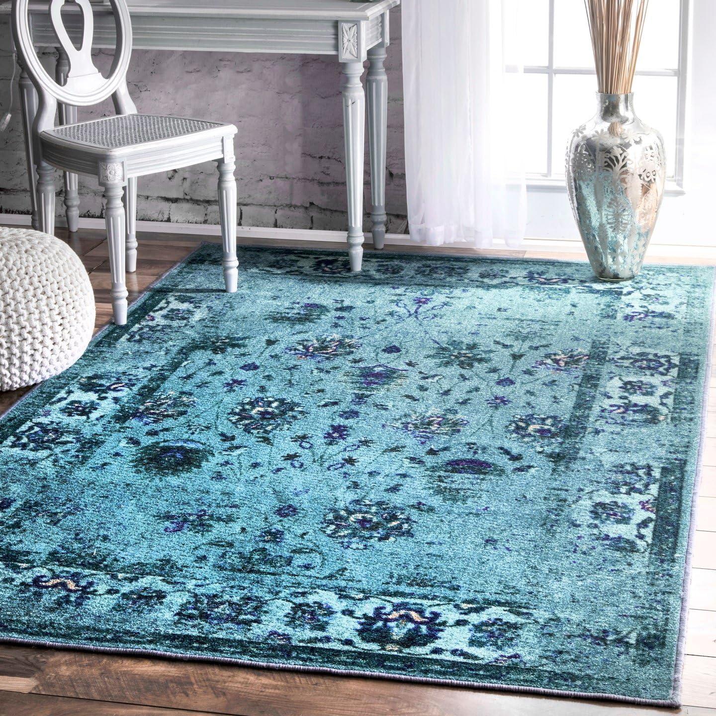 nuLOOM Elizabeth Vintage Persian Area Rug, 8 x 10 , Turquoise