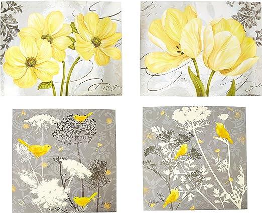 Amazon.com: Hermoso conjunto de carteles gris y amarillo ...