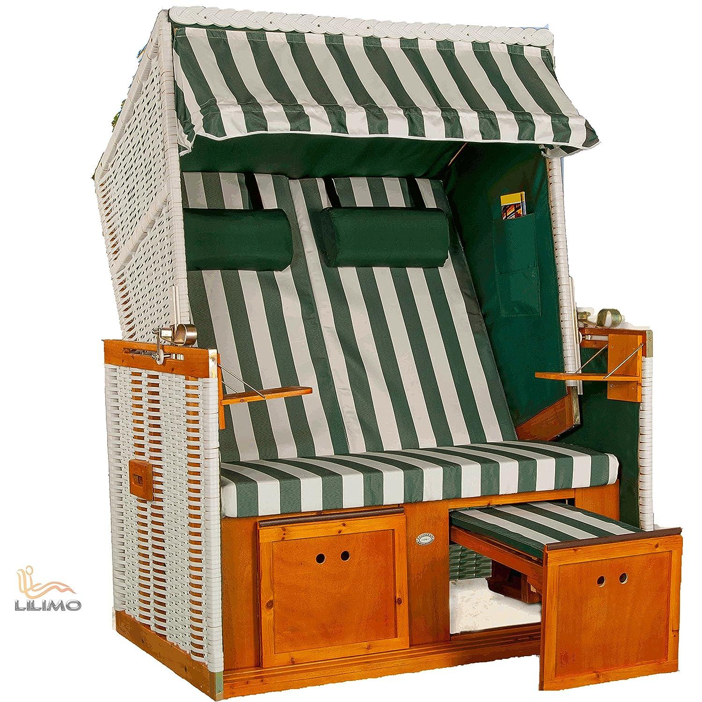 Strandkorb NORDSEE Deluxe GNE grün-weiss, Geflecht weiß, LILIMO ®