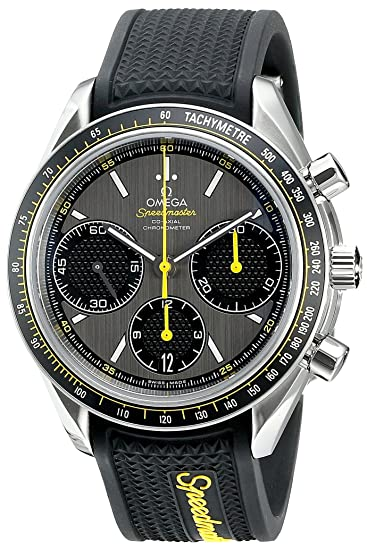 Speedmaster Racing - Reloj de pulsera para hombre, dial gris con correa de goma de