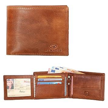 50b51405532b5 ALMADIH ® Portemonnaie querformat edles Rindsleder Münzfach mit Geschenkbox  (P1Q BT-V) Herren