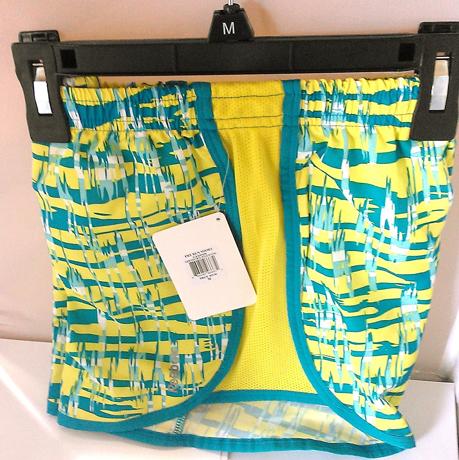 Reebok PlayDry Girl's Yellow/Teal Running Shorts size M (10-12)