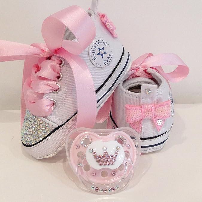 65f7cf060a BrillaBenny Scarpine Scarpe Strass Bimba Neonato 0-3 Mesi Bianche/Baby Shoes  White Birthday Party Events Wedding Gift Rhinestone Crystal AB Luxury: ...