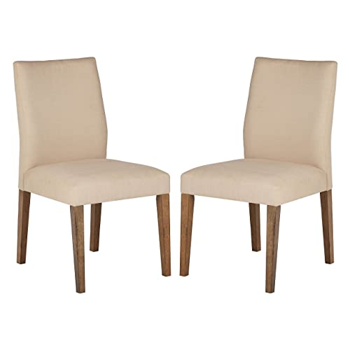 Stone Beam Hughes Casual Wood Kitchen Dining Chair, Set of 2, Beige