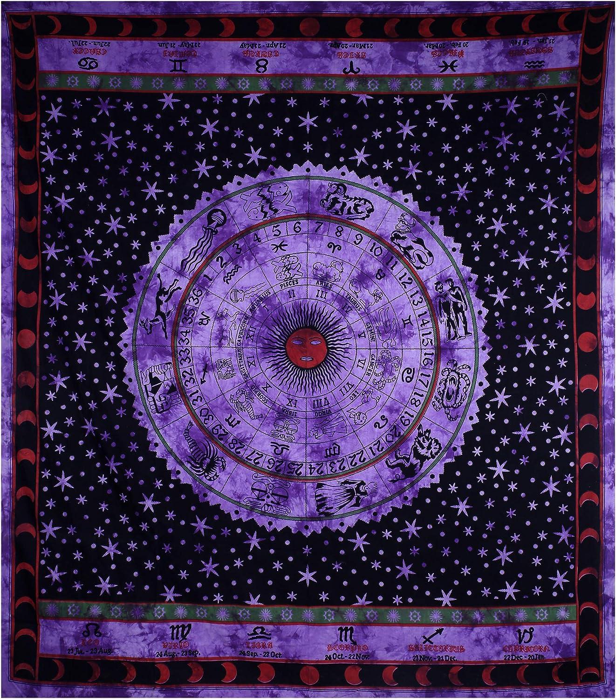 Violet Zodiac Sun Signe Étoile Lune astrologie Wall Hanging Cotton Mandala Tapestry