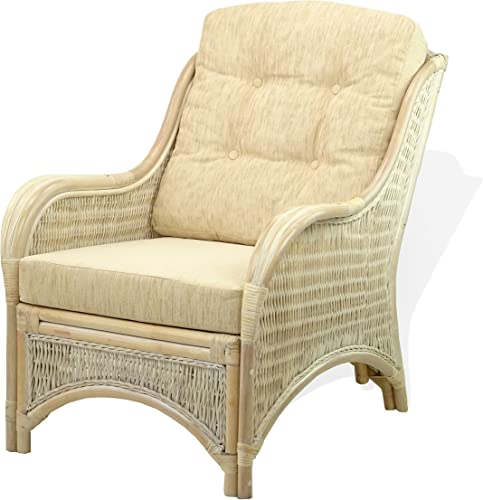 Lounge Arm Chair ECO Natural Handmade Rattan Wicker with Cream Cushions Color White Wash