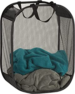 "Honey-Can-Do Mesh Laundry Basket, 18"" Length x 11"" Width x 24"" Height, Black"