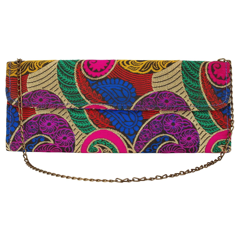 JaipurSe Multicolor Women's Fashion Bag Party Wear Clutch Handbag Drop-in Chain Shoulder Strap