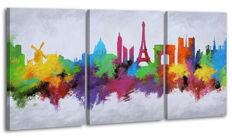 YS-Art Acryl Gemälde Stadt der Liebe | Handgemalt | 140x70cm | Wand Bild | Moderne Kunst| Leinwand |Unikat|Bunt|3-teilig