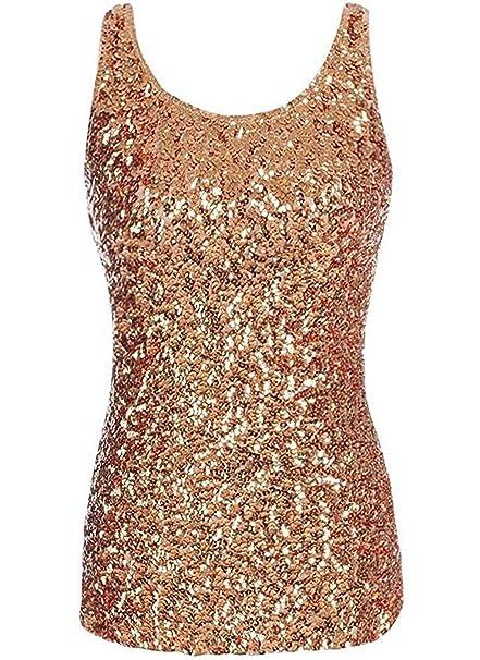 Wiipu Women s 1920S style Shiny Sequin Tank Top Vest Tops(J132)- Medium Gold