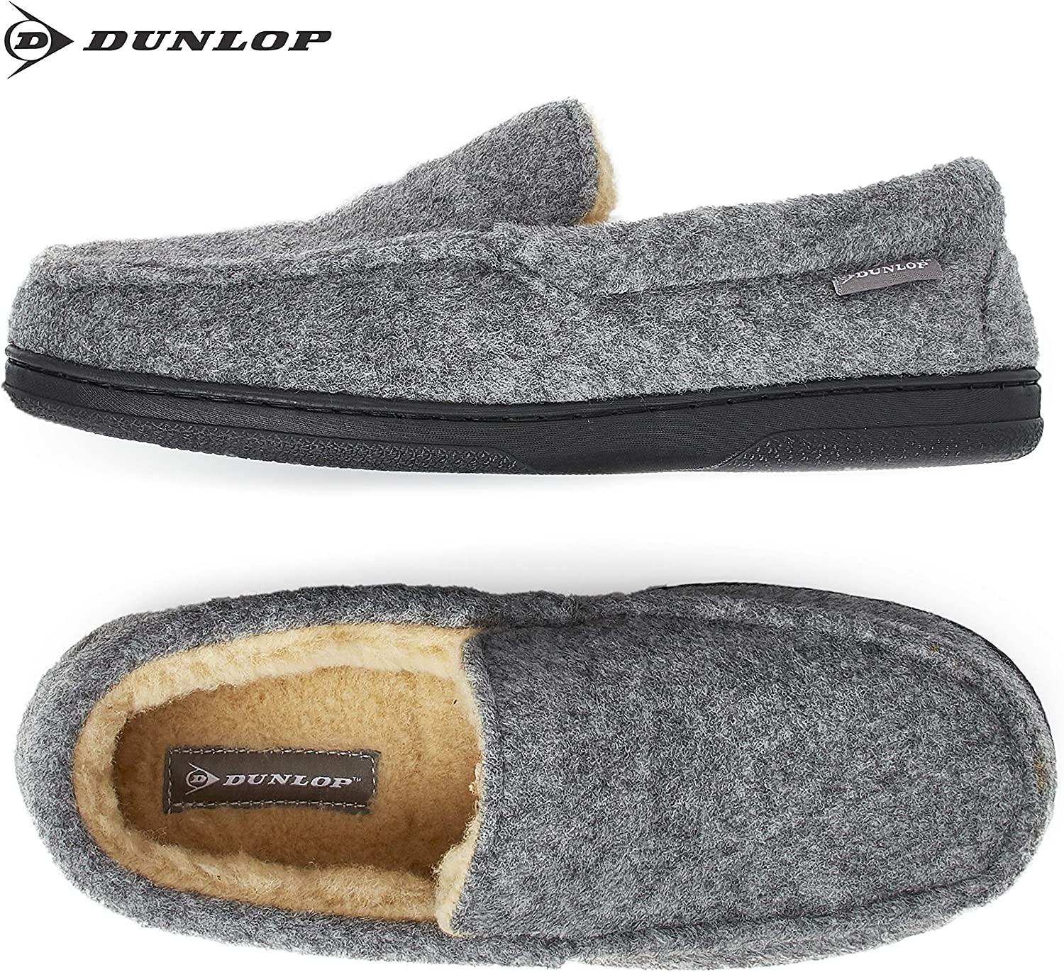 Gifts for Men Moccasin Loafers Faux Sheepskin Slippers with Rubber Sole Breathable Indoor Outdoor Shoes Memory Foam Plush House Slippers Dunlop Moccasins Slippers Men