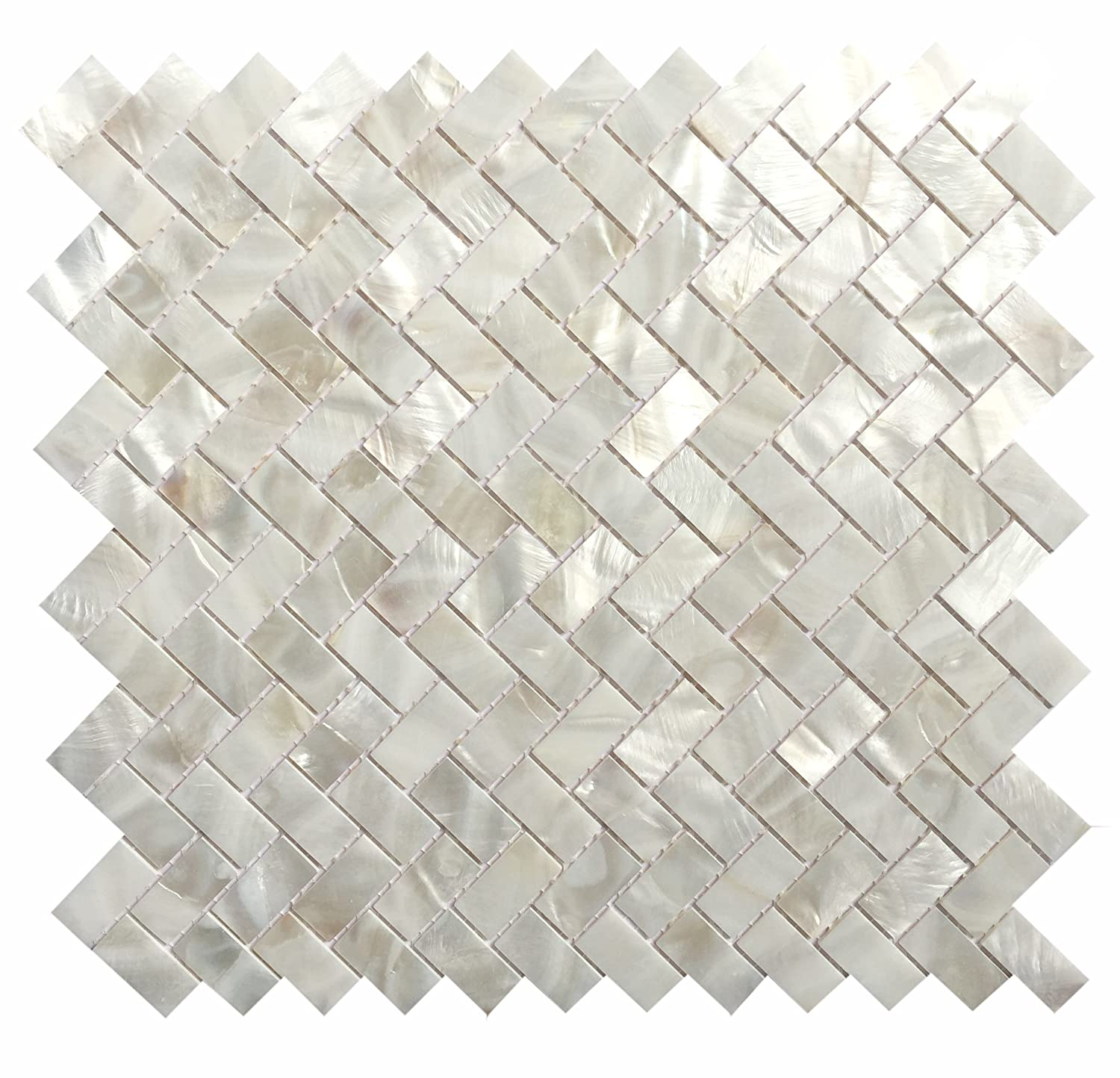 Genuine Mother of Pearl Oyster Herringbone Shell Mosaic Tile for Kitchen Backsplashes, Bathroom Walls, Spas, Pools by Vogue Tile (Pack of 5 Sheets) MOPH1X2