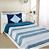 Amazon Brand - Solimo Brickline Microfibre Printed Quilt Blanket, Single, 120 GSM, Blue