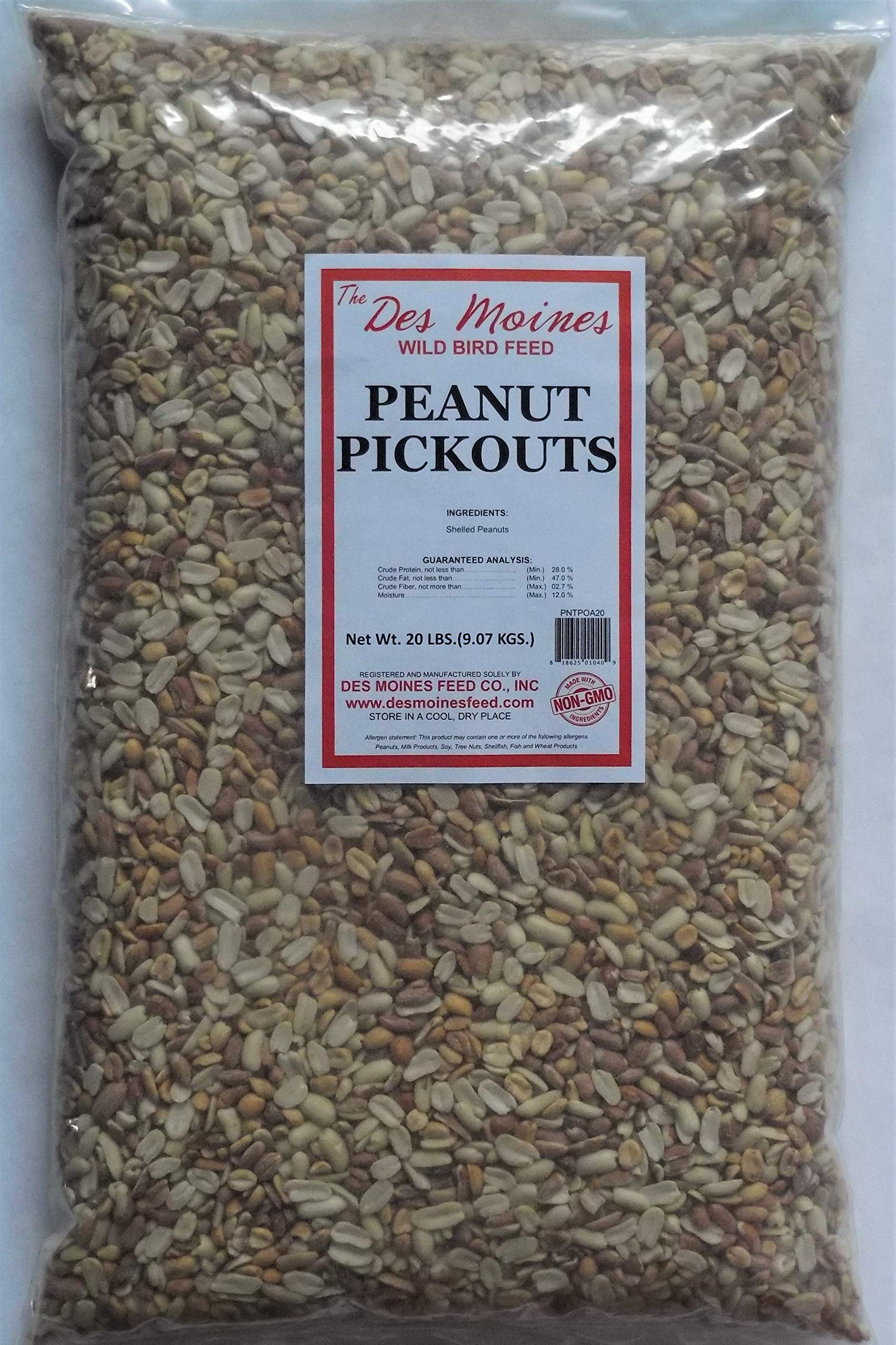 Peanut Pickouts All Natural Wild Bird Food Birds Love 20 lbs by Des Miones Wild Bird Feed