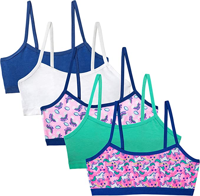 Simply Adorable Big Girls 5-Pack Bralettes