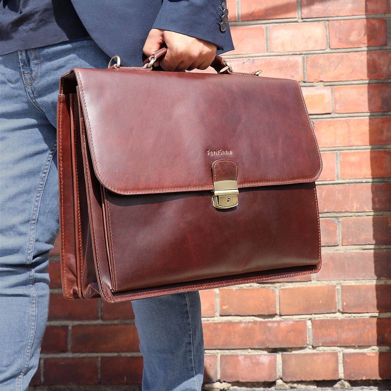FEYNSINN Aktentasche Leder Emilio XL groß Businesstasche